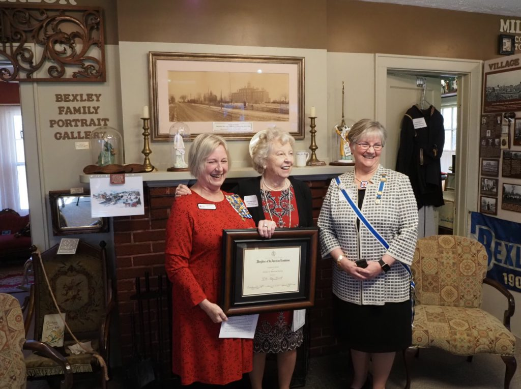 Jan Hepburn, Regent DAR Franklinton Chapter                      Edie Mae Herrel, Member Franklinton Chapter   Kathy Dixon, State of Ohio DAR Regent
